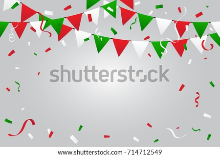 Green And Red White Confetti And Ribbons Falling On White Background. Congratulations and Celebration Background. Mexico Or Italy, Bulgaria, Madagascar Flag Color Concept Design. Vector Illustration