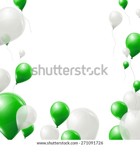 green and white balloons on