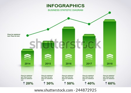 Green and white diagram with point chart and place for statistical text. Vector