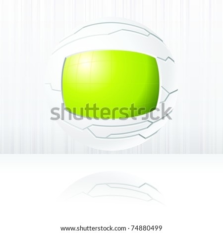 Green and white futuristic globe. Includes transparencies (EPS10); jpg version also available