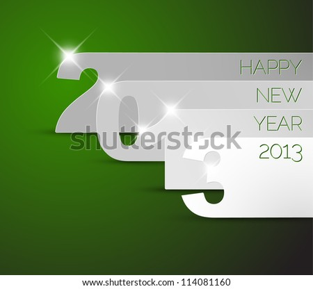 Green and white Happy New Year 2013 vector card