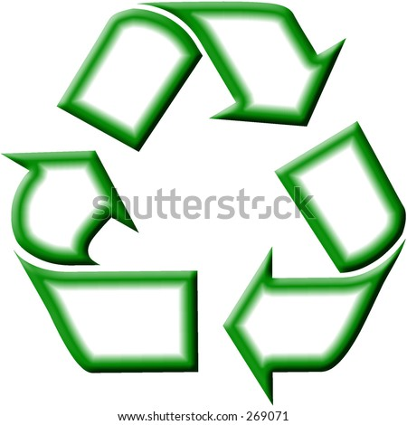 Green and white recycling symbol.