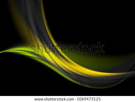 green and yellow glowing waves