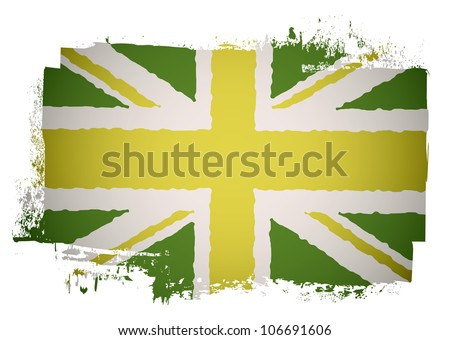 Green and yellow grunge British flag with a twist