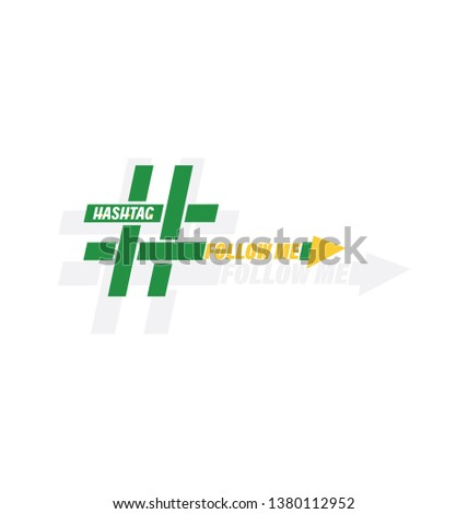 Green and yellow icon of a hashtag with the text Follow me. Concept of micro blogging, pr, popularity, blogger, grille. isolated on white background. flat style. Trend modern logotype design.