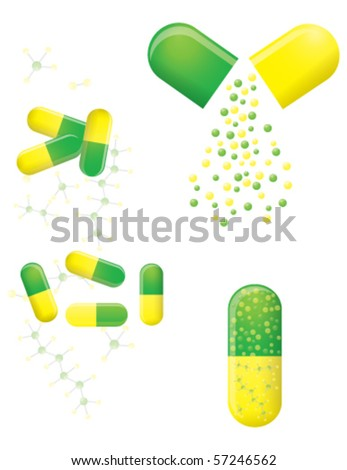 Green and yellow pills, vector EPS 10