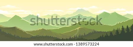 Green and yellow tinge of the mountain landscape and forests Stockfoto ©