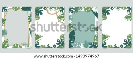 Green animal collection of safari frame set with leaf,leaves vector illustration for birthday invitation,postcard,logo and sticker