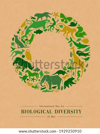 Green animal shape icon set illustration on recycled paper texture. Diverse wild animals silhouette circle frame for eco friendly concept or endangered species protection.