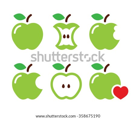 green apple  apple core  bitten