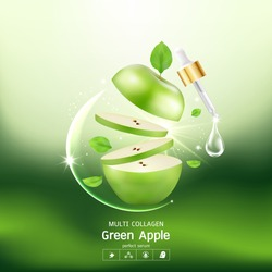 Green Apple Collagen Serum and Vitamin Background Concept Skin Care Cosmetic.