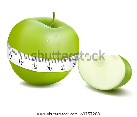 Green apple measured the meter, sports apple. Vector illustration