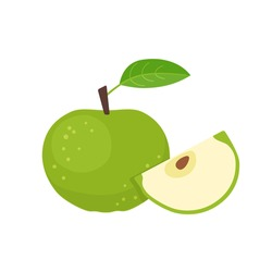 Green apple whole fruit with slice. Vector flat illustration isolated on white background