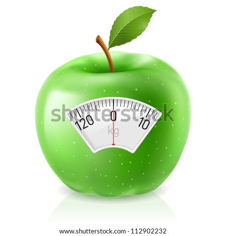 Green Apple With Scale for a Weighing Machine