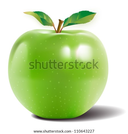 green apple with two leaves and