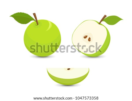 Green apples set, whole apple with leaf, half an apple and quarter of an apple, isolated on white background