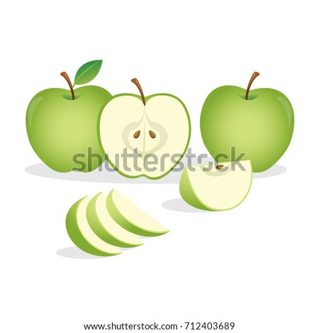Green apples.Vector illustration.