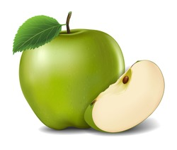 Green Apples with Green Leaves and Apple Slice - Vector Illustration. Realistic vector