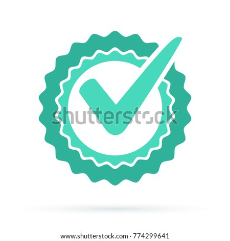 Green approved star sticker vector illustration isolated on white background. Done stamp vector. Flat style design button, badge. Check icon