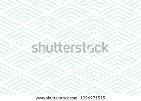 Green aqua line and white geometric pattern seamless chevron abstract vector design.