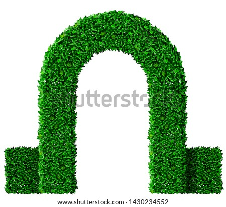 green arch and bush fence of