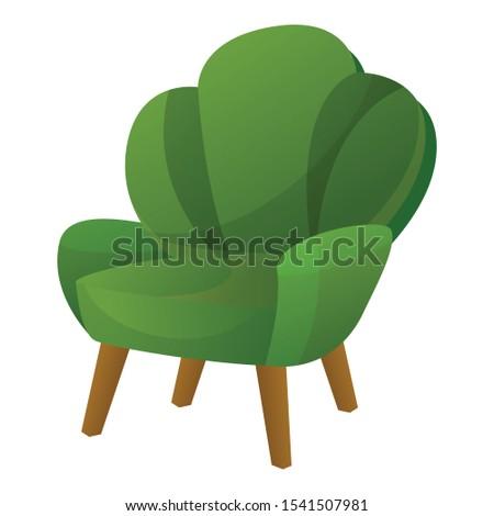 green armchair icon cartoon of