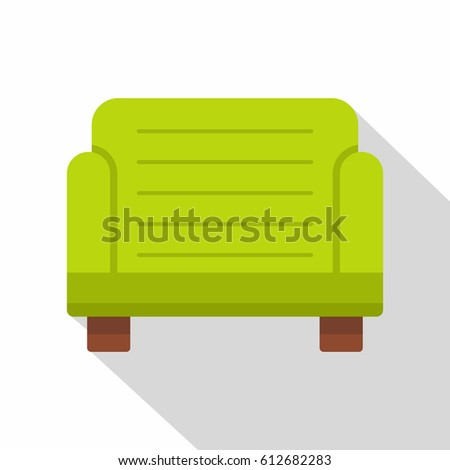 green armchair icon flat
