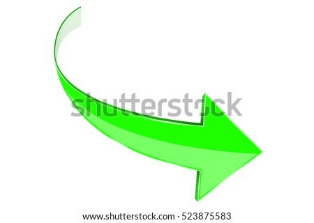 Green arrow. Curved web icon. Vector illustration isolated on white background