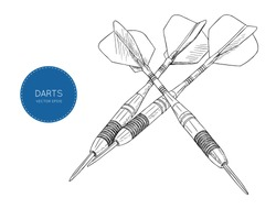 green arrow darts. Vintage engraving stylized drawing. Vector Illustration