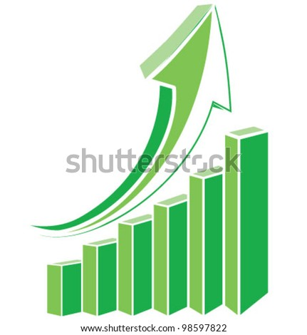 Green arrow diagram chart. Detailed vector illustration