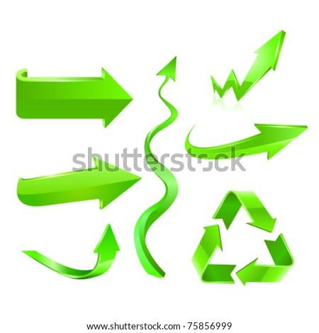 Green arrow icon set. Vector