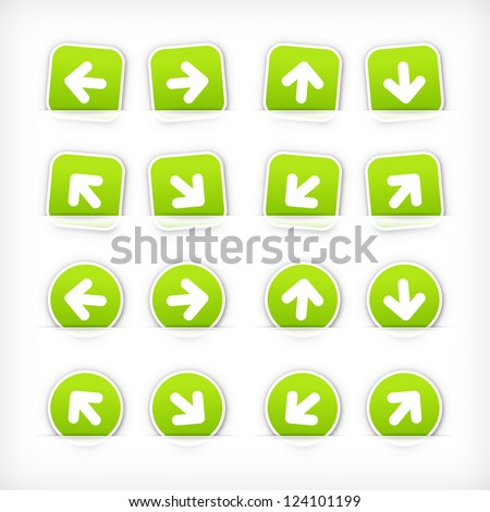 Green arrow sign paper sticker on cut pocket. Web button satined circles and rounded square shapes with gray drop shadow on white background. Vector illustration clip-art design element in 10 eps