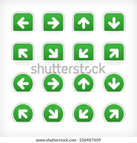 Green arrow sign sticker on cut paper pocket. Web button blank satin circles and rounded square shapes with gray drop shadow on white background. This vector illustration design element 10 eps
