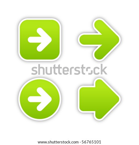 Smooth green stickers arrow sign web 2.0 buttons with shadow on white background
