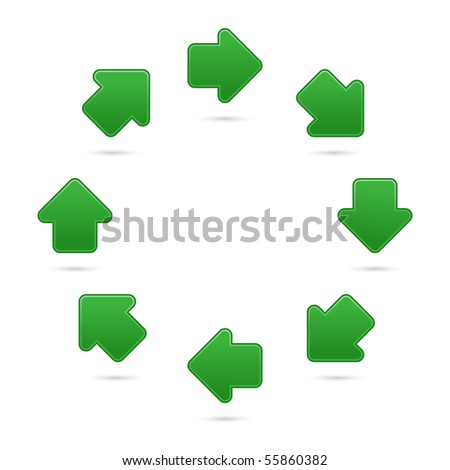 Green arrow symbol web 2.0 internet button. Matted colorful shapes with shadow on white background