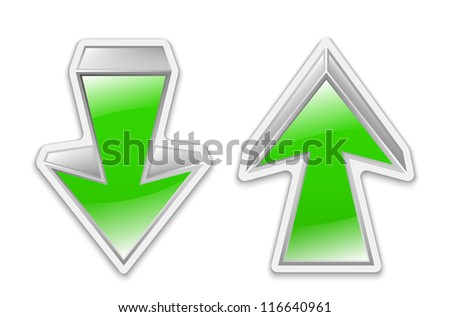 Green arrows icon stickers. Vector illustration