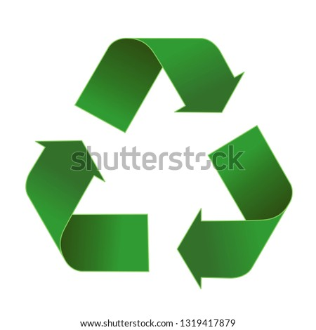 Green arrows recycle eco symbol vector illustration isolated on white background. Recycled sign. Cycle recycled icon. Recycled materials symbol.