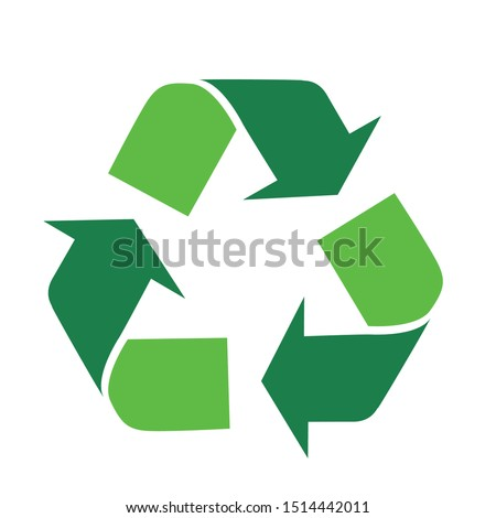 Green arrows recycle eco symbol vector illustration isolated on white background. Recycled sign. Cycle recycled icon. Recycled materials symbol. Recycled icon eps.
