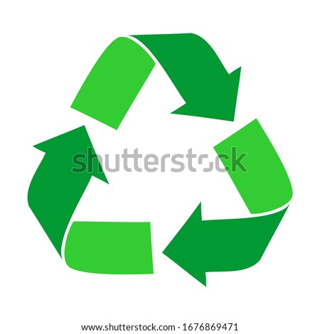 Green arrows recycle eco symbol vector illustration isolated on white background. Recycled sign. Cycle recycled icon. Recycled materials symbol. Recycled icon eps. 10