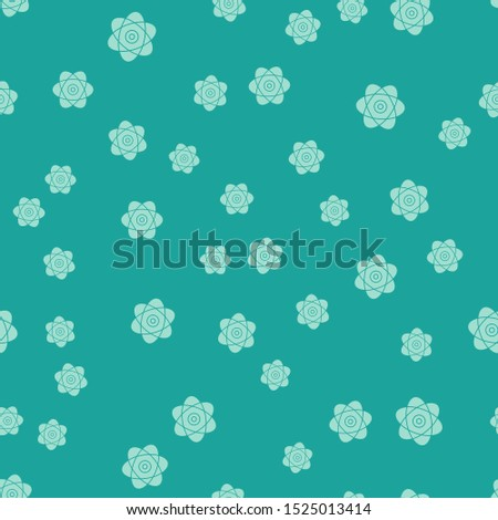 Green Atom icon isolated seamless pattern on green background. Symbol of science, education, nuclear physics, scientific research. Electrons and protons sign.  Vector Illustration