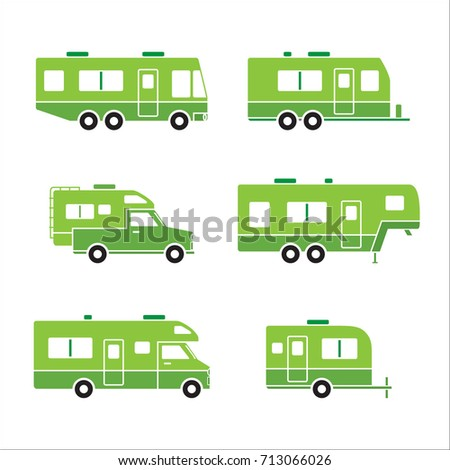 Green auto RVs, Camper cars / vans, Truck Trailers, recreational vehicles vector icons, isolated on white background