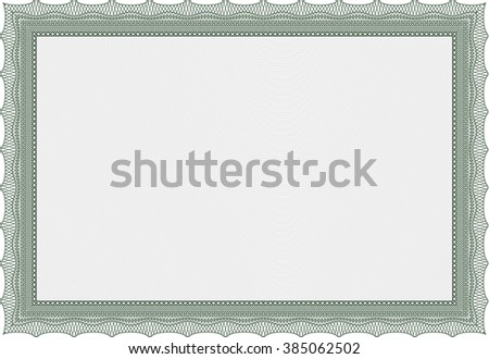 Green Awesome Certificate template. Award. Money Pattern. With great quality guilloche pattern.