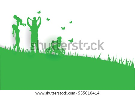 Green background happy family having fun playing in the field - Shutterstock ID 555010414