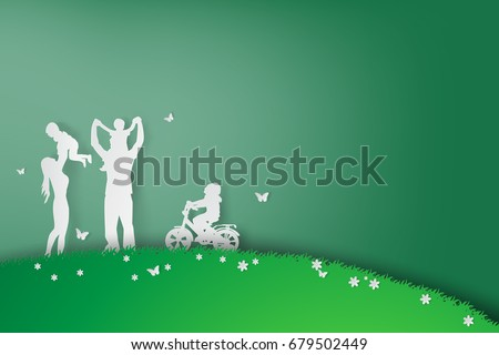 Green background happy family having fun playing in the field.Creative design graphic Environment nature day concept.people lifestyle enjoy in garden park of silhouette.paper art and craft.vector