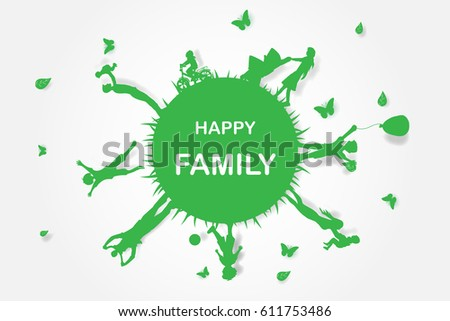 Green background happy family having fun playing in the field,earth,world