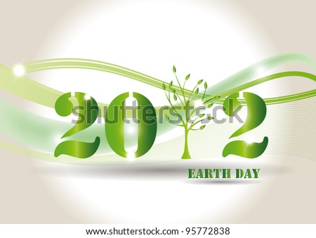 Green background on earth day with tree