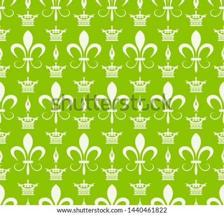 Green background pattern. Retro pattern in royal style. Ornament illustration. Wallpaper background. Abstract seamless texture. Template for fabric design. Vector illustration