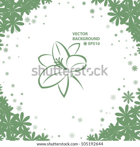 Green background with abstract flowers. Vector eps10 illustration