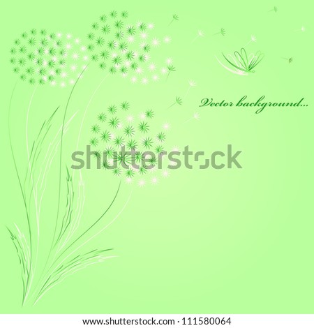 Green background with dandelions. Vector.