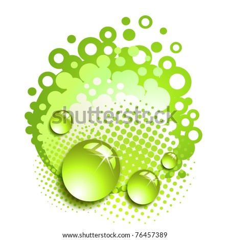 Green background with drops and bubbles isolated on white